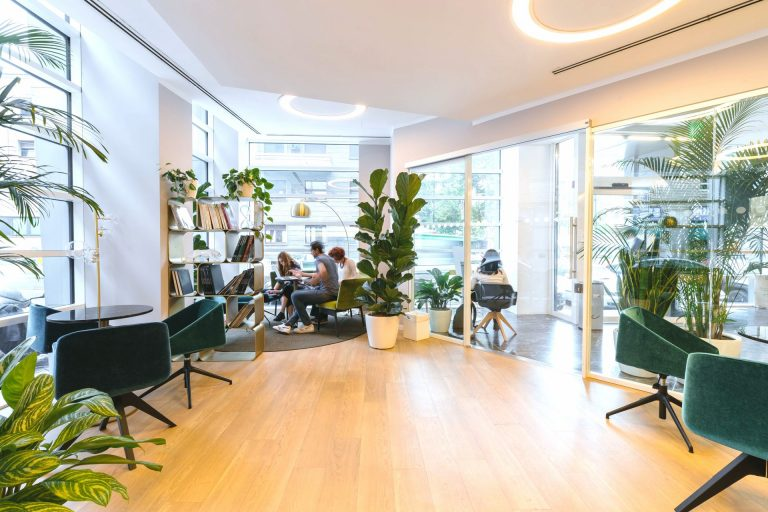 indoor plants in green eco-friendly workplace